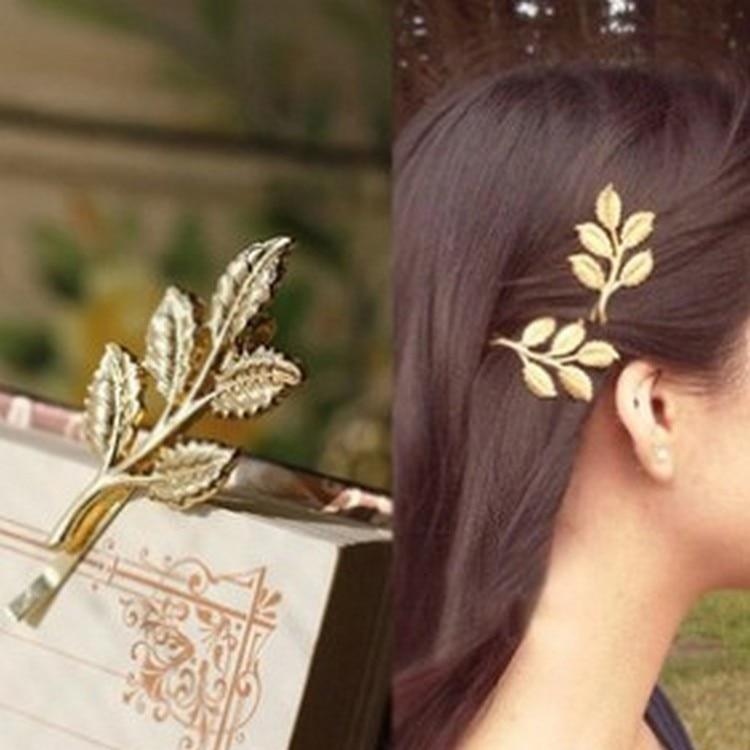 Barrette Hair-Accessories Hairpin Party-Decoration Leaf Metal Fashion Women Jn506 Geometry