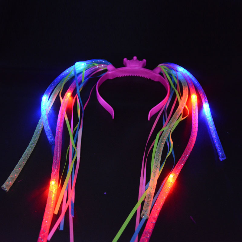 Light Up Braids Crown Noodle Hair Band LED Flashing Pipe Headbands Women Girls Rave Glow Birthday Party Halloween