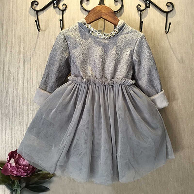 99321f6e995be ... toddler baby girls lace dress Black/gray Kids winter Clothes Children's  thick Dresses Kids Wear ...
