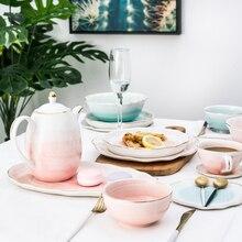 European Style Gold Rim Spot Ceramic Plate Rice Dish Fish Steak Western Dessert Tableware Set Decoration