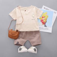 2019 New 2pcs Striped Casual Baby Girl Clothes Concise Cartoon Pattern T-shirts Short Sleeve Pants Girls Set