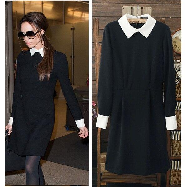 Clearance Sale Collar Black Autumn Winter Women Dresses