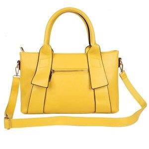 Image 2 - Bolsa feminina amarela de couro sintético, bolsa feminina de marca famosa, preta, azul, feita em couro sintético w805
