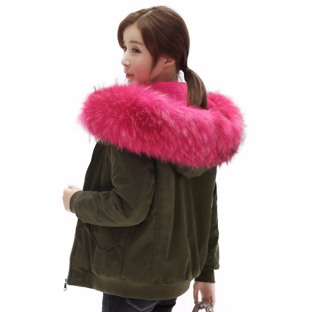 New 2016 Winter Jacket Women Coats Real Large Raccoon Fur Collar Female Parka Army Green Thick Cotton Padded Lining Ladies #E947