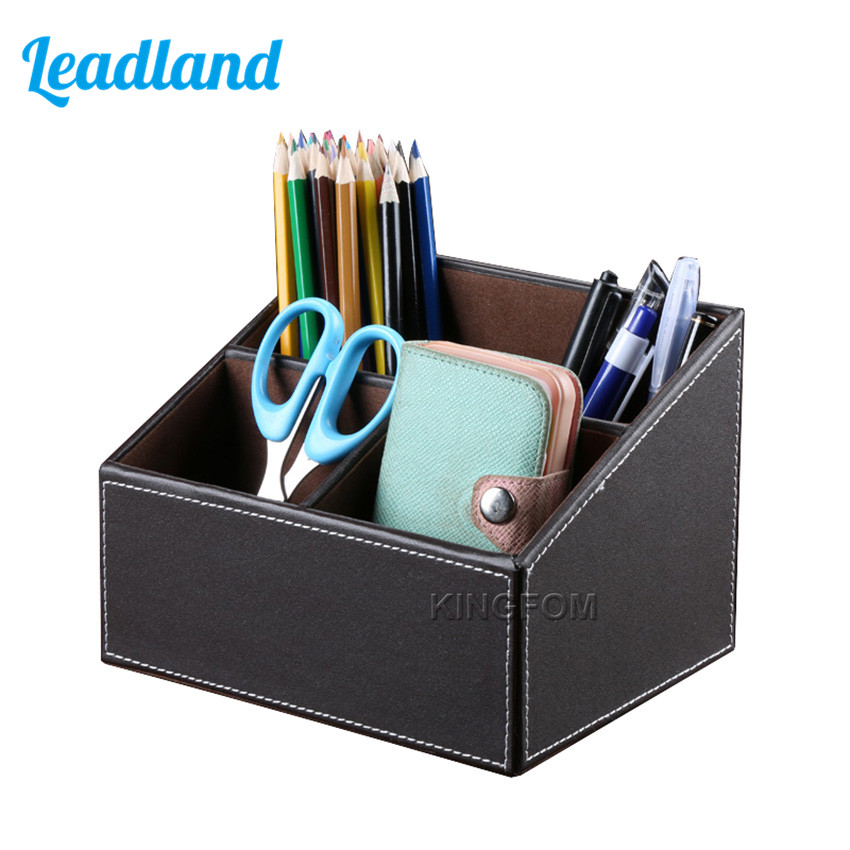 PU Leather Desktop Organizer Box Storage Box Case Pen Holder Sundries Box For Office Supplies A097 creative pen holders desktop storage box stationery box sundries collecting box 4 colors pen holders gift office organizer 1pc