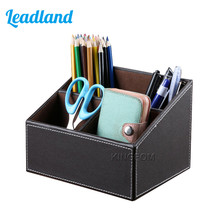 PU Leather Desktop Organizer Box Storage Box Case Pen Holder Sundries Box For Office Supplies A097