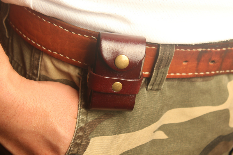 High Quality Lighter Leather Case Waist Pack Cow Leather Protection Pouch Molle Bag Brown Color