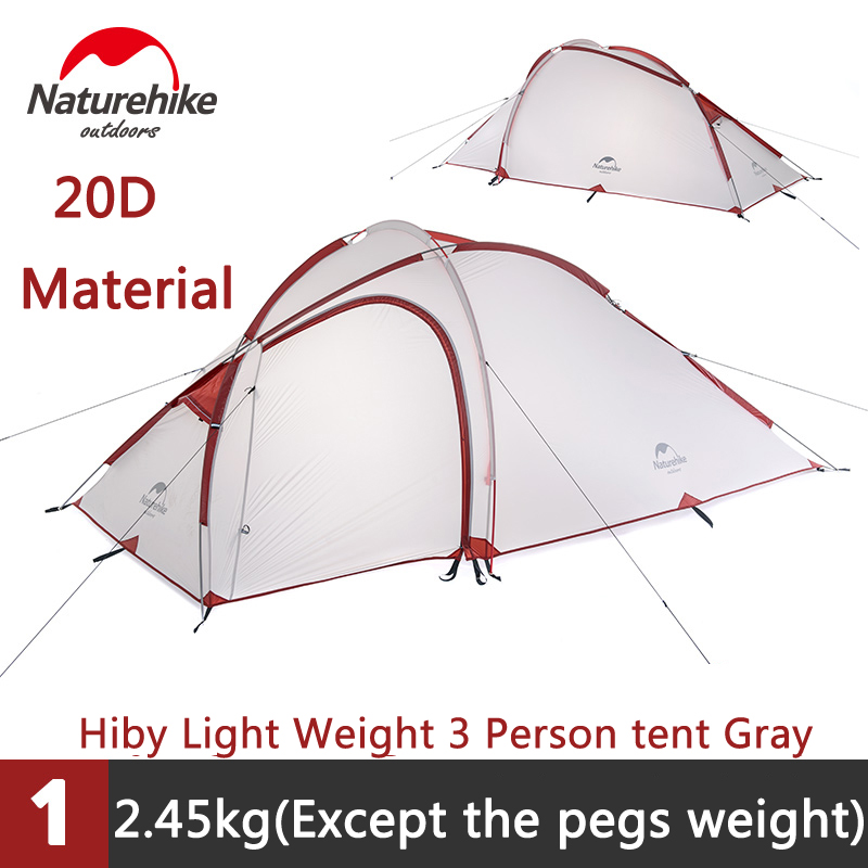 Naturehike Camping Waterproof Tent 2-3 Persons 1 Bedroom & 1 Living room Tent Outdoor Double-layer Tent Sleep Units NH17K230-N outdoor camping hiking automatic camping tent 4person double layer family tent sun shelter gazebo beach tent awning tourist tent