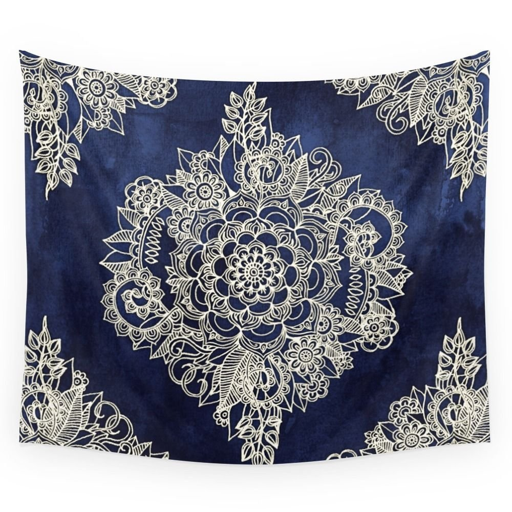 Cream Floral Moroccan Pattern On Deep Indigo Ink Wall Tapestry Home Room Wall Decoration Bedspread Dorm Cover