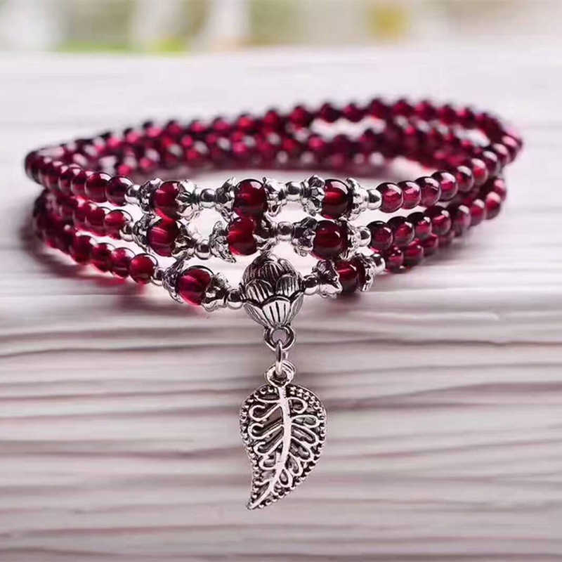 Wholesale Wine Red Garnet Natural Stone Bracelets Beads Tibetan silver Leaf Pendant Women Beauty Bracelet Multilayer Jewelry