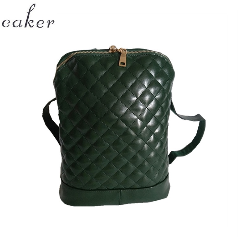 Caker Brand 2018 Women Genuine Leather Backpack Black Red Khaki Large Big Shoulder Bags For Ladies Diamond Lattice Shoulder Bag