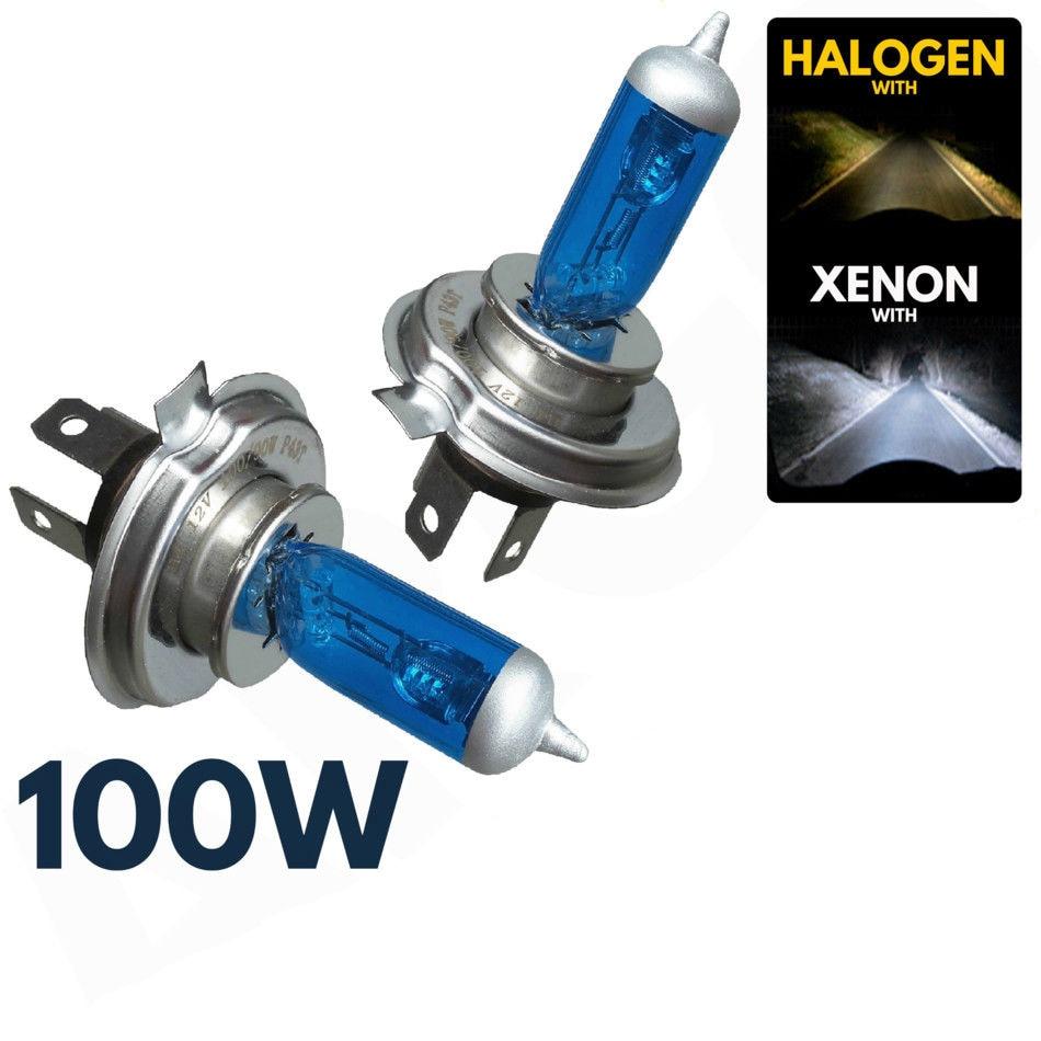 2pcs/lot  Headlight 100W 12V 8500K H4 Xenon Lamp HID Super White Effect Look Headlight Lamps Light Bulbs