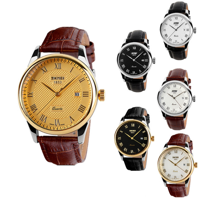 2016 New Arrival women's Sports Luxury Genuine Calf Leather Watches Business And CasualSKMEI Quartz Wrist Watch With Auto Date