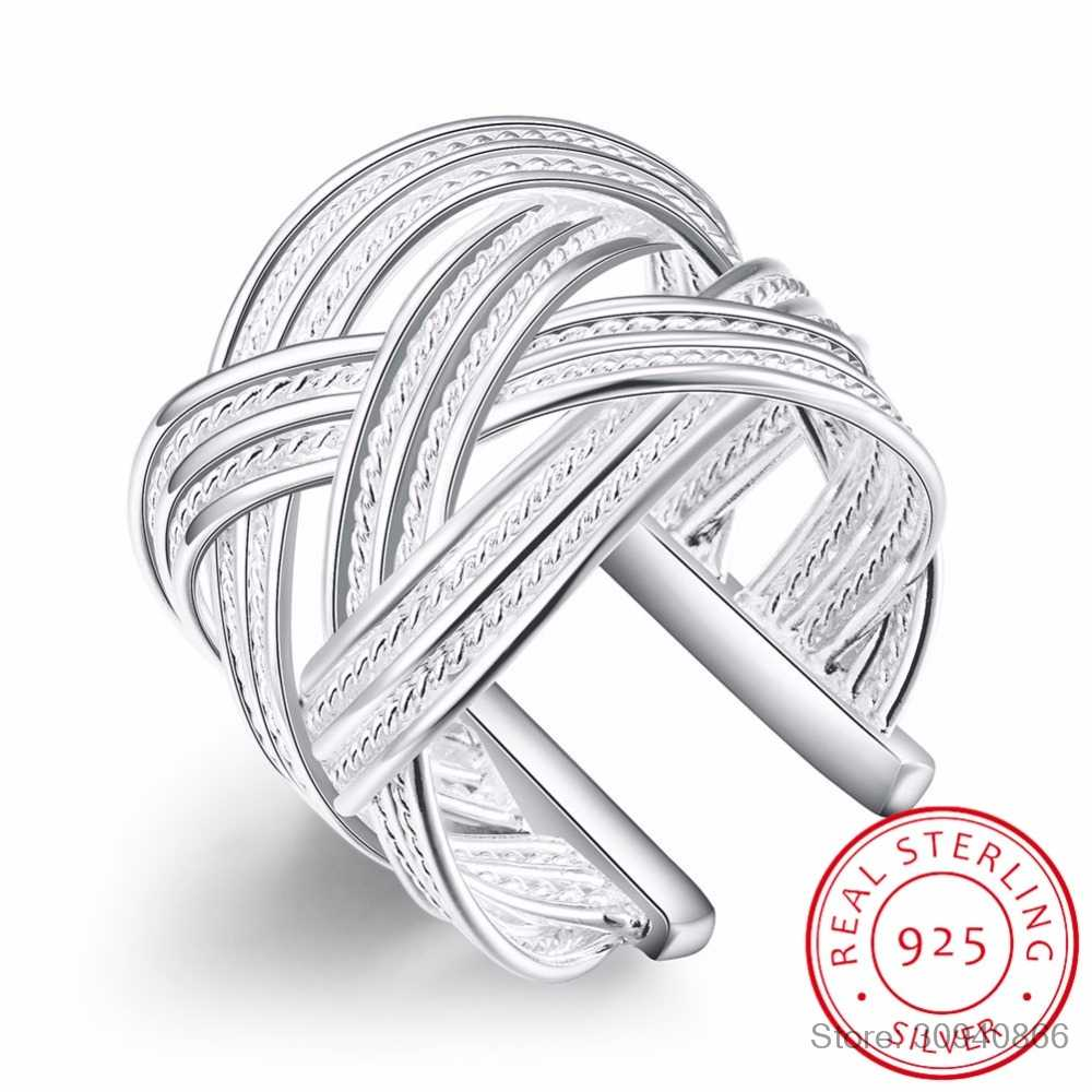 LEKANI High-quality 925 sterling silver Rings female double cross cz Crystal infinity ring bague argent 925 femme anillos mujer