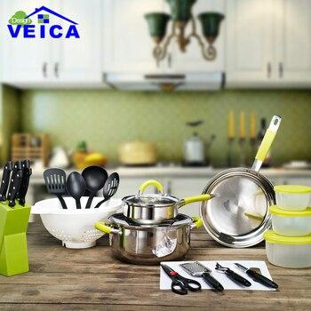 2019 panelas de ceramica chegada fda moda superior panelas panelas e panelas conjunto 24 peça cozinha starter combo utensílio