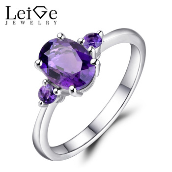Leige Jewelry Sterling Silver 925 Natural Oval Cut Amethyst Engagement Rings for Women Classic Anniversary Gift Gemstone Ring