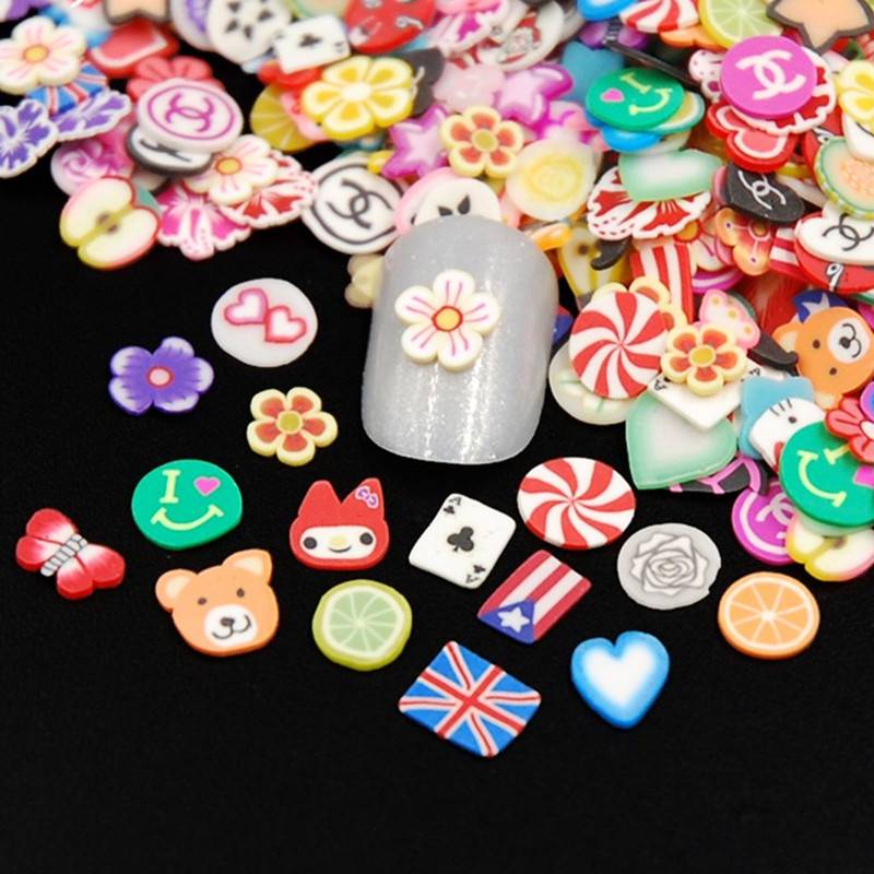 New 200pcs/pack Nail Art 3D Feather Flowers Fruit Fimo Slices Polymer Clay DIY Slice Decoration Nail Sticker Mixed Stype 1000pcs pack 3d fimo nail art decorations fimo canes polymer clay canes nail stickers diy 3mm fruit feather slices design zj1202