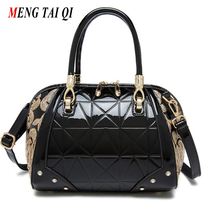 ФОТО Top-Handle Bags Luxury Handbags Women Bags Designer 2017 Ladies Leather Sequins Woman Shoulder Messenger Bags Famous Brands 5