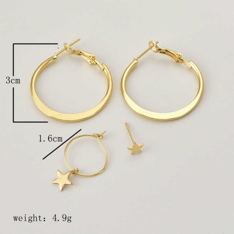 New Fashion Earrings Creative Fashion Star Earrings Circular Pattern Lady's Personality And Four Earrings Wholesale