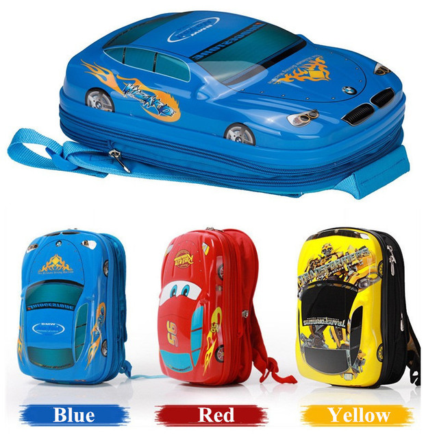 15Inch High Quality Cartoon Cars Children's School bag Primary School Students Boy Backpack Travel bag Kids suitcase