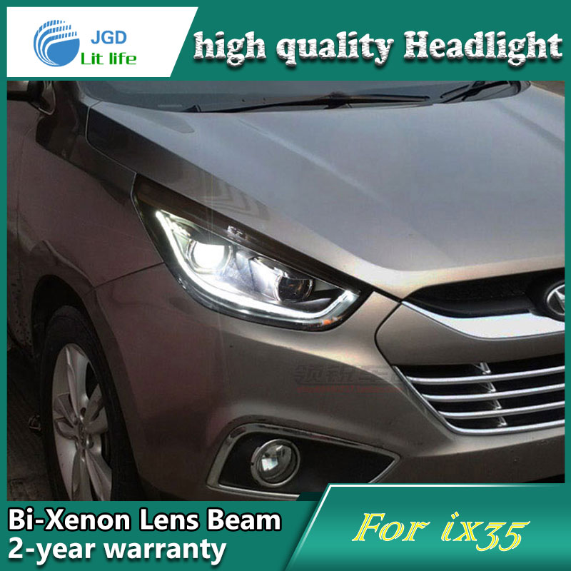 Car Styling Head Lamp case for Hyundai IX35 2010-2013 Headlights LED Headlight DRL Lens Double Beam Bi-Xenon HID Accessories hireno headlamp for 2015 2017 hyundai ix25 crete headlight headlight assembly led drl angel lens double beam hid xenon 2pcs