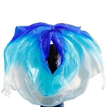100% di Seta Fatto A Mano Professionale Veli Danza Del Ventre Sciarpa Scialle Gradiente Multi Colore Velo di Seta Danza Del Ventre Accessori Per Bambini Adulti