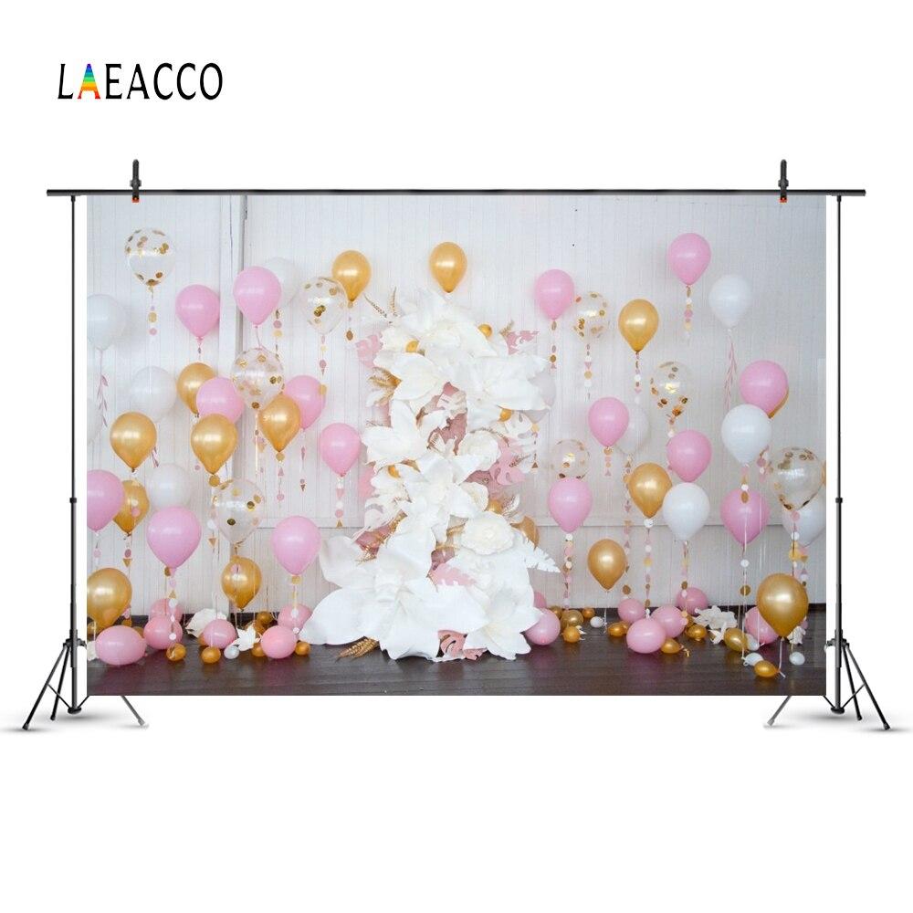 Globos de colores Laeacco Flores Fondo de fotografía de cumpleaños - Cámara y foto - foto 2