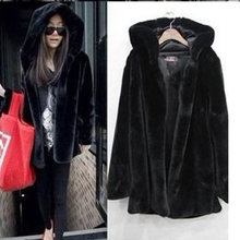 new Winter Women Hooded Faux Fur Coat Fashion Warm Long-sleeved Loose Black Female Flocking Cotton Jacket Plus Size
