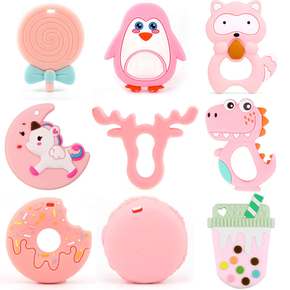 TYRY.HU 1pc Food Grade Rodent SiliconeTeether Dinosaur Fox Raccoon Elephant Baby Teething Toys DIY Pacifier Chain Baby Products