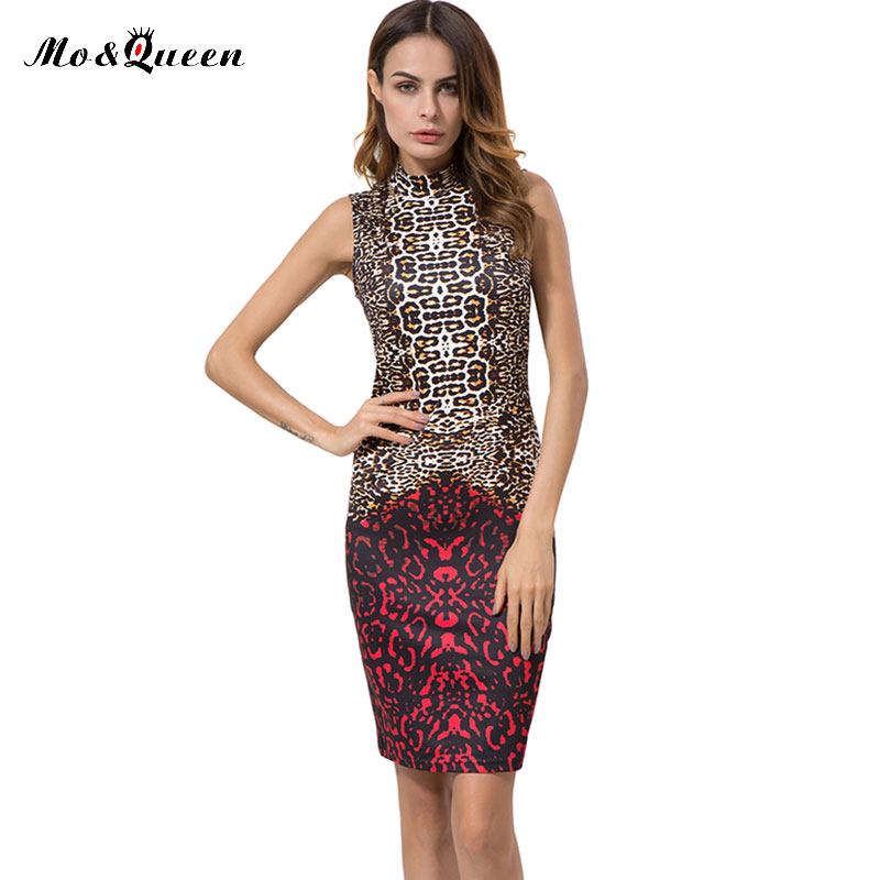 MOQUEEN Leopard Printed Summer Dress Women 2017 Fashion Stand Collar Sexy Dress Ladies Sleeveless Vintage Pencil Party Dresses