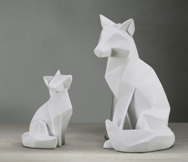Simple White Abstract Geometric Fox Sculpture Ornaments Modern Home Decorations Animal Statues