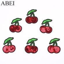 10 pçs/lote Ferro No Remendo de Lantejoulas Pequena Cereja Frutas Dos Desenhos Animados Etiqueta para o Vestuário DIY Calça Jeans Calças Mochila Apliques Sew Badge1.