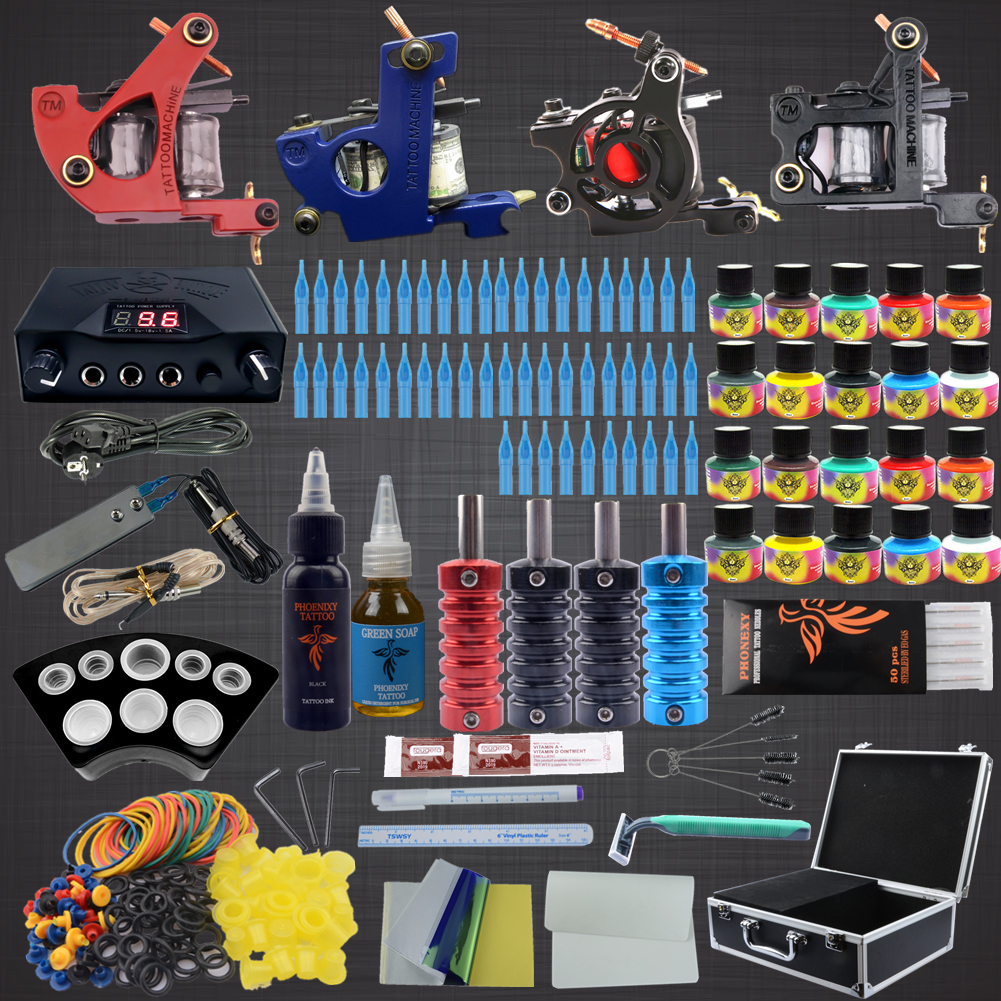 2018 New Arrival Complete Tattoo Kit 4 Professional Tattoo Machine Set 20 ColorsInks & 50pcs Needle Tattoo Nozzle & Grips europe god of darkness robert recommend gp self lock grips gp3 professional tattoo artist grip