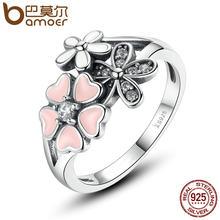 4a757fc4bcb0 Bamoer 925 poética de la margarita de plata rosa flor anillo de dedo para  las mujeres de compromiso joyería de moda flor de cere.