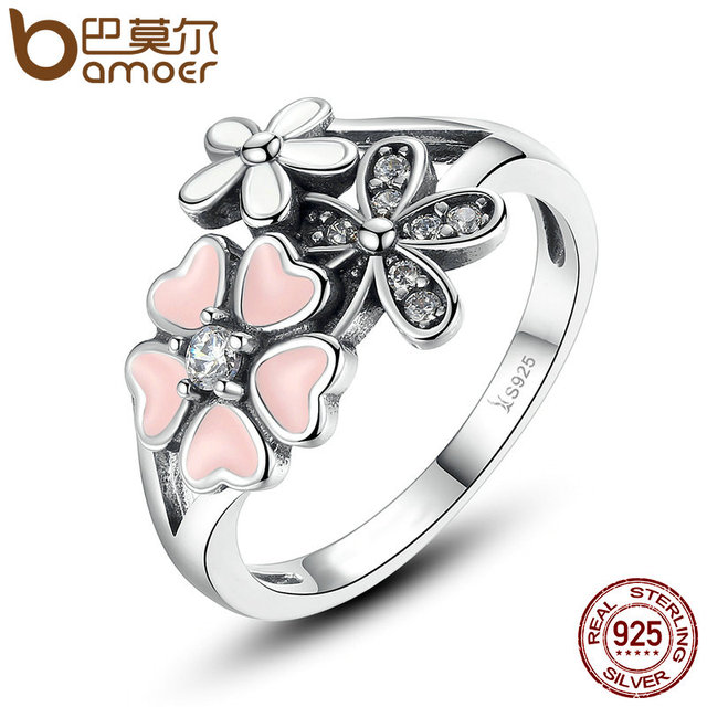 BAMOER Fashion 925 Sterling Silver Pink Flower Poetic Daisy Cherry Blossom Finge