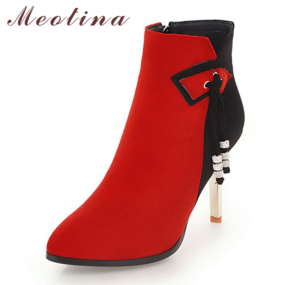 Meotina Winter Women Ankle Boots Sexy High Heel Boots Zipper Pointed Toe Tassel Short Boots Mixed Color Bow Ladies Footwear Red