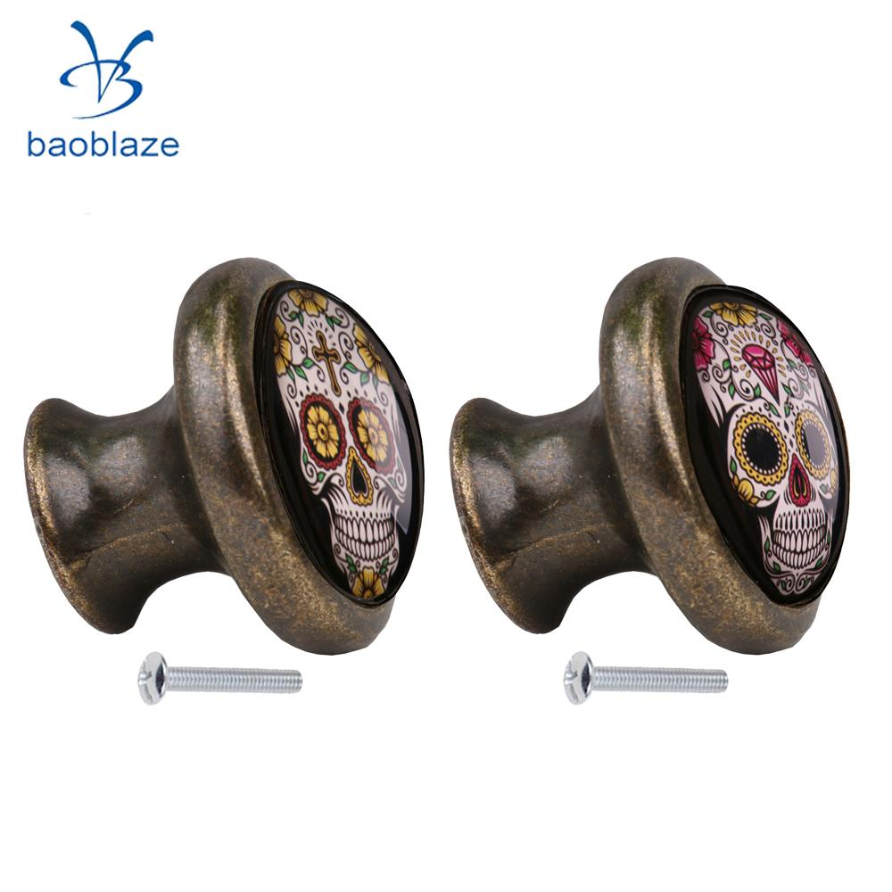 2pcs Skull Pattern Vintage Metal Door Knob Cupboard Cabinet Bin Drawer Dresser Pulls Handle Knob Furniture Hardware #8 2pcs set stainless steel 90 degree self closing cabinet closet door hinges home roomfurniture hardware accessories supply