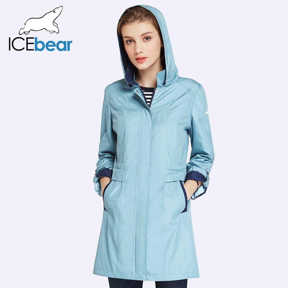 Icebear 2019 das mulheres casaco de alta qualidade outono longo trench coat para mulher chapéu blusão destacável 17g116d