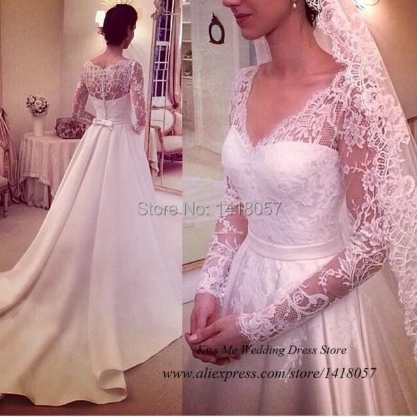 Modern Western Long Sleeve Wedding Dress 2015 Vestido de Noiva Manga Longa A Line Lace Bride Dresses V Neck Court Train