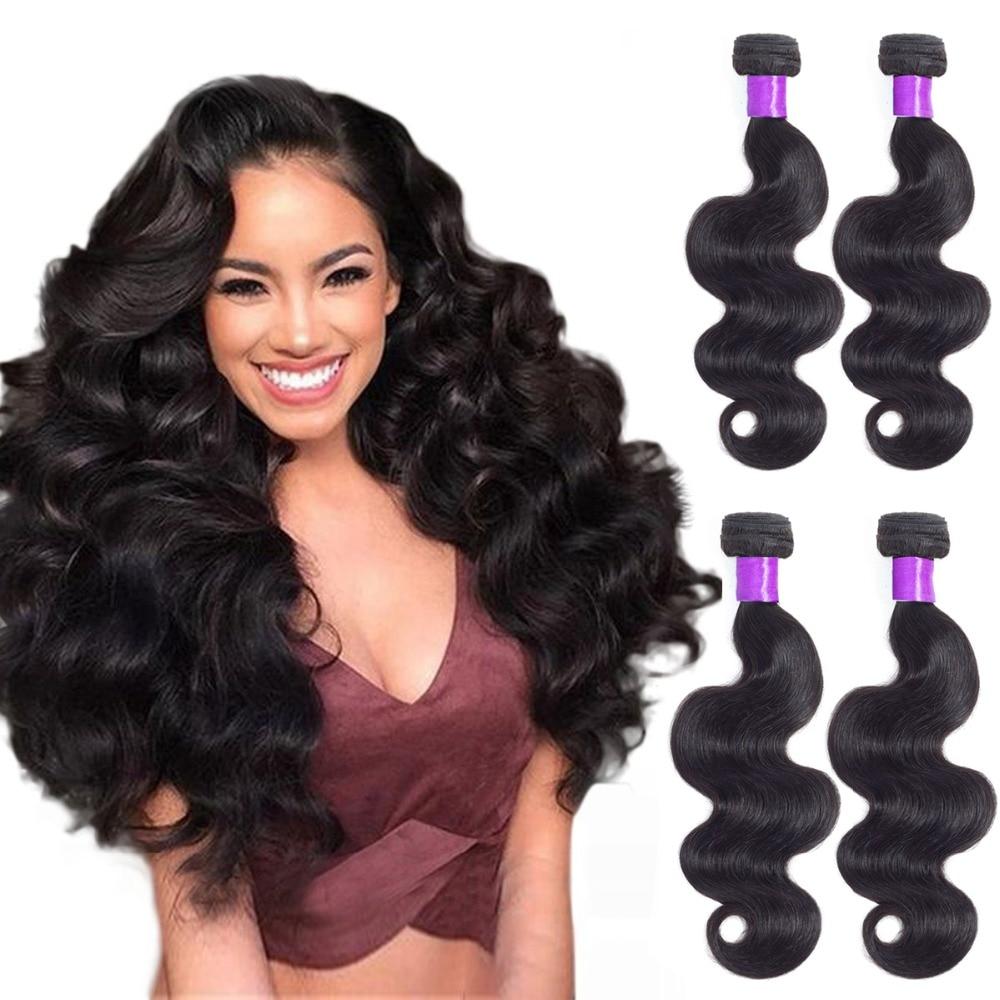 Peruvian Body Wave 4 Bundles Human Weave Hair Extentions Non Remy Wave Human Hair Bundles Natural Color Double Weft Hair Bundles