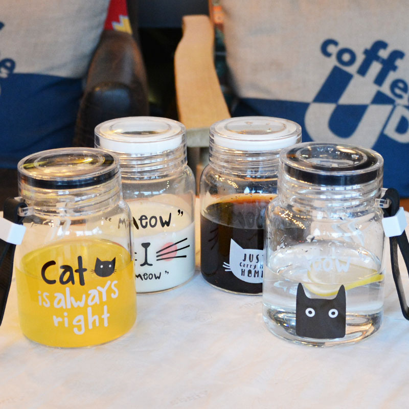 New Cartoon Glass Mug Coffee Tea Mugs 300ml Cute Cat Face Cups Mug Watter Bottle Drinkware Creative Cat Cup Transparent Glass