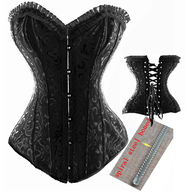 3712049a3f1 Free Ship Black White Brocade Spiral Steel Boned Waist Trainer Corsets and  Bustiers Corselet Gothic Plus Size S-6XL Body Shaper