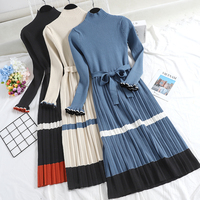 2018 winter new women Fashion long knit dresses female high neck striped long sleeve waist pleated vintage sweater dress