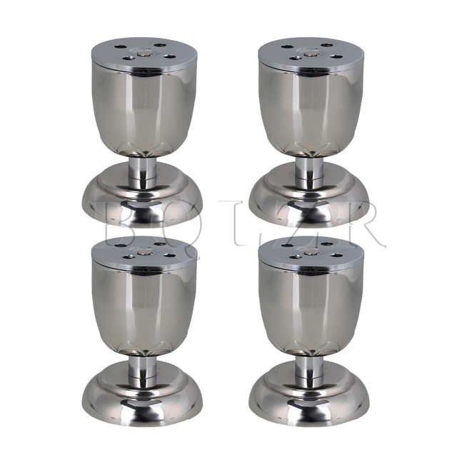 BQLZR 4 pcs Silver Stainless Steel Adjustable Funiture Legs Cabinet Sofa Table Feet