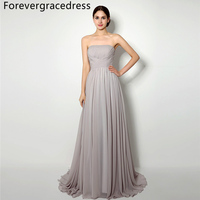 Forevergracedress Cheap Silver Bridesmaid Dress New Arrival A Line Long Lace Up Back Chiffon Wedding Party