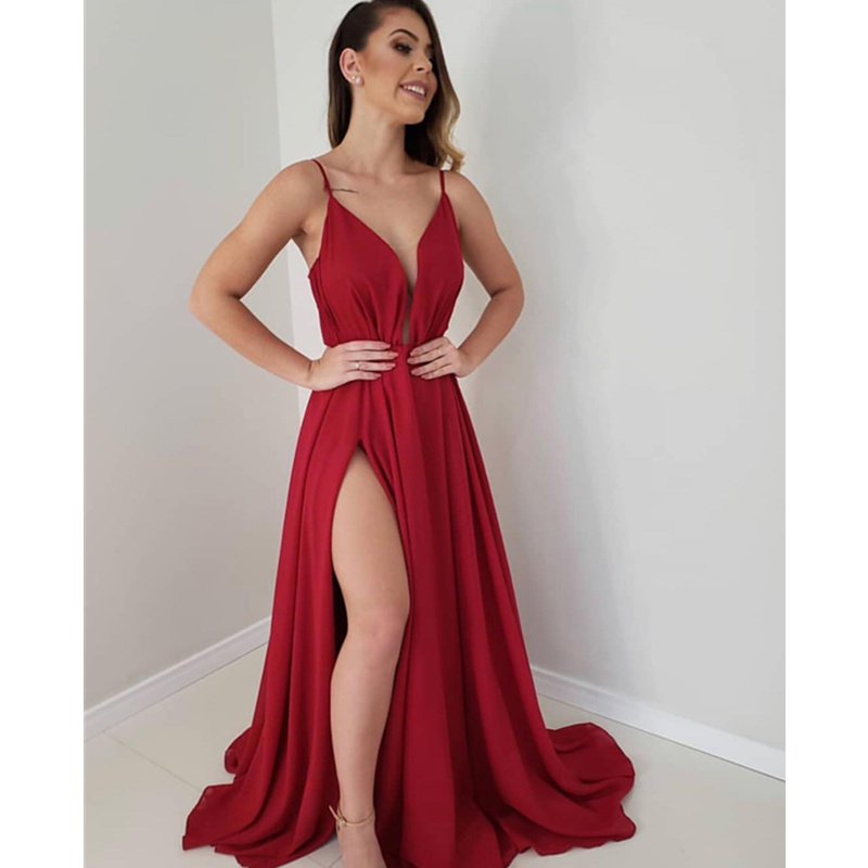 Robe De soirée 2019 Simple rouge Robe De soirée longue Sexy profonde col en V fente robes De bal Spaghetti sangle formelle Robe De soirée - 2