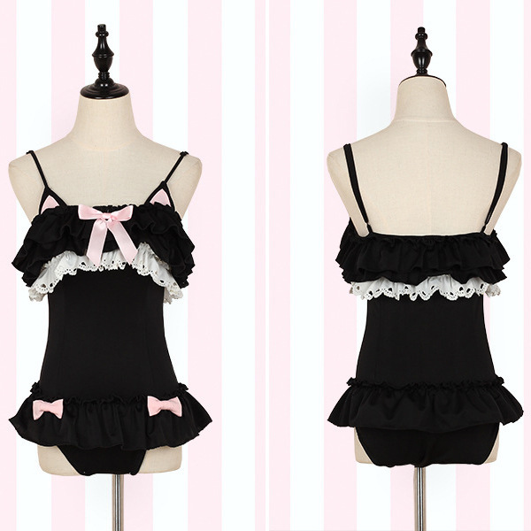 Swimwear Push Up One Piece Women's One-Piece Swimsuit Plus Size Korea Japanese Ear Girl Lovely Pink Ruffled Skirt Female Solid