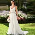 2017 Charming Spaghetti Straps Chiffon Beach Wedding Dresses Beaded Sexy Open Back Bohemian Bridal Gowns