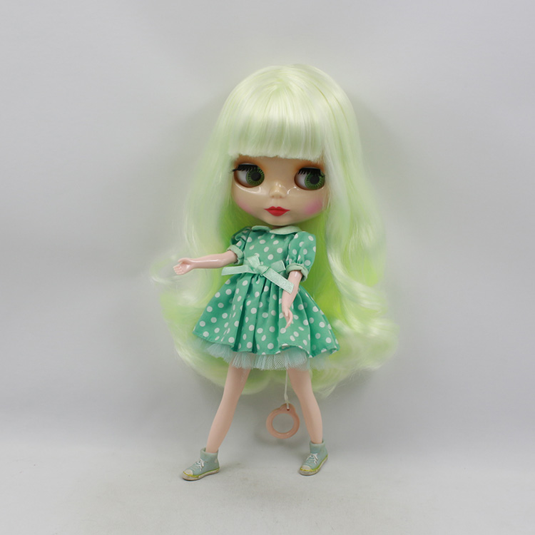 Free shipping Blyth doll nude pale yellow long hair with bangs suit for DIY bjd dolls for sale girls birthday gifts