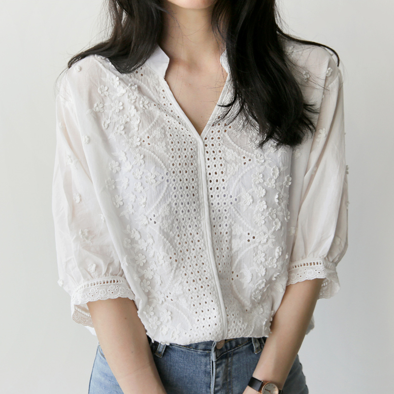 New white shirt half sleeve embroidery blouse hollow out for White floral shirt womens